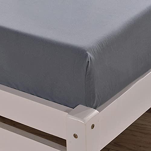 XGguo Protector de colchón - Protector de colchón antialérgico Sábana cepillada Color Puro Antideslizante-Gris_198 * 203cm + 40cm_