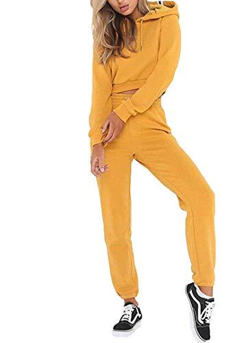 Loalirando Completo Sportivo Donna Tuta da Ginnastica 2 Pezzi Felpa con Cappuccio Corto+ Pantaloni a Vita Alta Sportwear per Yoga Corso Palestra Jogging Fitness