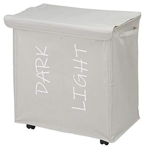 mDesign Canasto para ropa sucia con 2 compartimentos y tapa – Cesta clasificadora con ruedas y asas de poliéster – Cesta para la colada plegable e impresa para baño o dormitorio – gris claro
