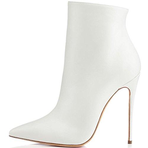 elashe Damen Klassischer Stiefel | 10cm Pointy Toe Damen Stiefeletten | Knöchelhohe Stiefel mit Absatz | Office Ankle Boots Weiß EU40