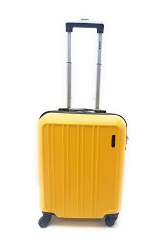 Trolley Ryanair Priority idoneo cm.55x40x20 ABS rigido 4 Ruote Bagaglio a mano Low cost (GIALLO)