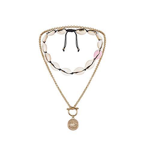 Gespout Collar Conchas Mujer Conchas De Playa Natural Collares Bohemio Mujer Joven Retro Para Mujeres Y NiñAs Collar Para Mujer Collar De Mujer Collar Ajustable Collar Para NiñAs Adolescentes
