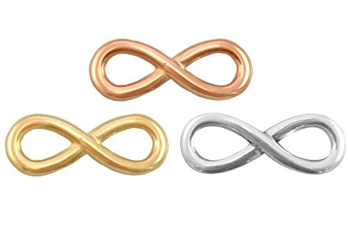 Sadingo DQ Metallanhänger, Verbinder Infinity - 3 Stück - 15x6 mm - je 1x Gold, Silber und Roségold - Armband basteln