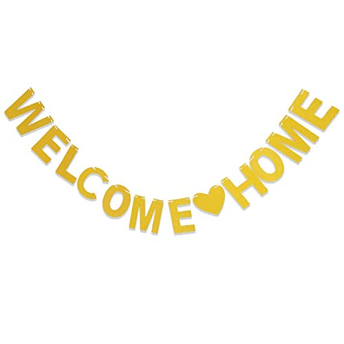 Seully Welcome Home Papierfahne,Willkommen zu Hause Banner,3 Meter Gold Willkommens-Banner,Familienfeier,Familie Partei Festival Feier Props,Photo Booth Props Foto Requisiten