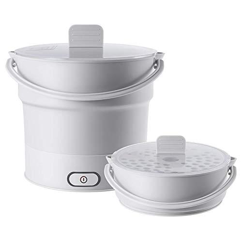 H&RB La sartén eléctrica Plegable Hervidor climatizada envase de alimento climatizada Caja de Almuerzo Caliente Cocina portátil Olla de cocción de té,Gris,UKPlug