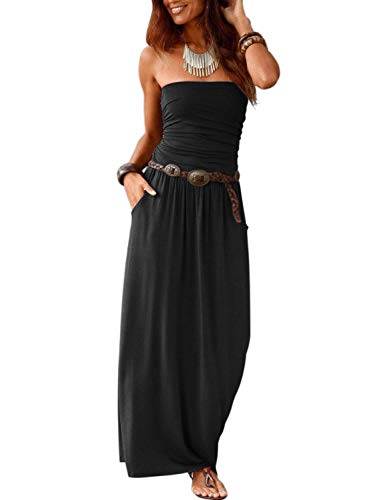 Minetom Damen Sommerkleider Trägerlos Boho Maxi Lang Kleid Ärmelloses CocktailKleid Strandkleid Lang mit Tasche Schwarz 38