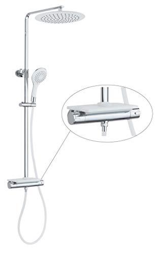 EISL GRANDE VITA Duschsystem mit Thermostat und Ablage, Regendusche mit Wandhalterung und Duschkopf (Ø 30 cm) Duschset inkl. Handbrause, DX1102CST, Weiß