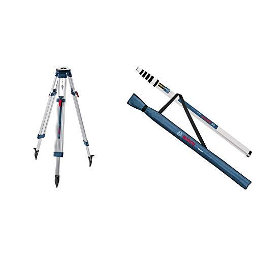 """Bosch Professional BT 160 - Trípode para nivel láser y óptico (160 cm, rosca 5/8"""", en caja) + Regla graduada para nivel óptico (5,0 m, telescópica, con funda)"""