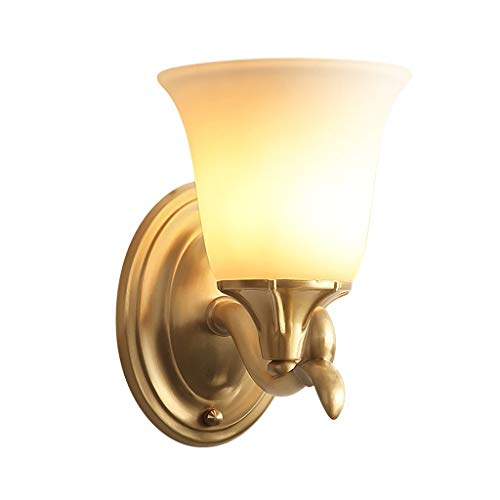 GaLon wandlamp, verlichting Art Deco, binnenverlichting, wandlamp van koper, modern, lampenkap van melkglas, lichtbron met E14-schroef, wandverlichting voor slaapkamer /