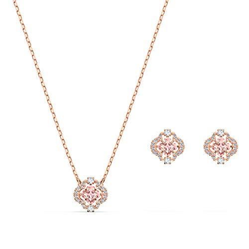 Swarovski Sparkling Dance Clover Set, Rosé Vergoldete Halskette und Ohrringe mit Funkelnden Swarovski Kristallen