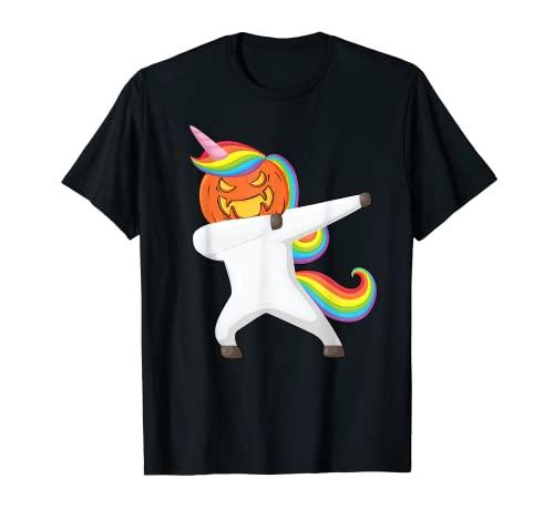 Dabbing Halloween unicornio aterrador calabaza Halloween Camiseta