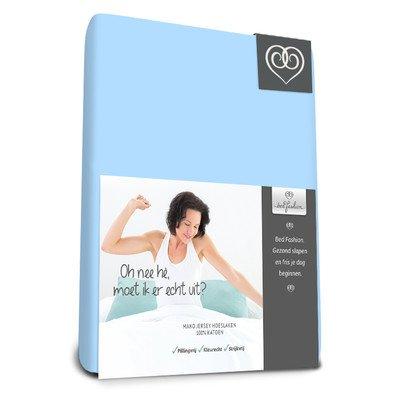 Bed-Fashion Mako Jersey Elastaan Hoeslaken Luxe 120 x 210 cm Blauw, Satijn, Zacht, Enkel