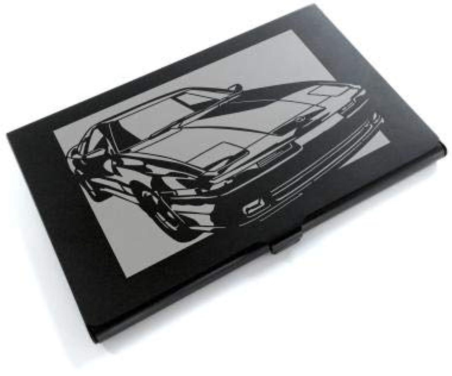 雇った幾何学椅子ブラックアルマイト「トヨタ(TOYOTA) スープラ JZA70」切り絵デザインのカードケース