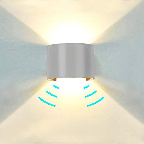Midore LED Wandleuchte Wandlampe mit Bewegungsmelder Aussen/Innen Runde 12W IP65 Einstellbarer Lichtstrahl Außenbeleuchtung 1000lm Up Down Aussenwandleuchte für Garten Balkon Treppe 3000K