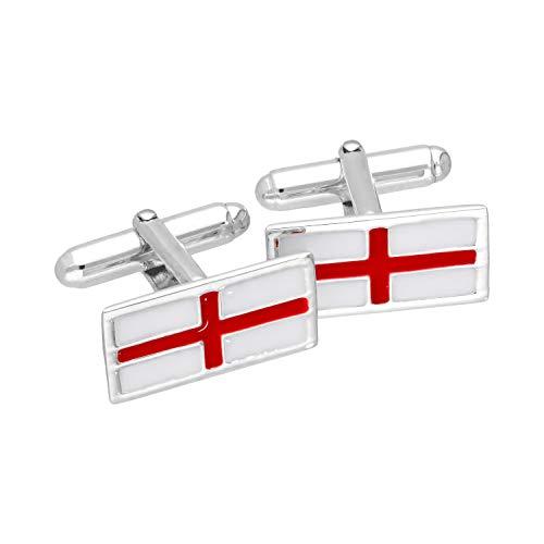 Sterlingsilber & Emaille Flagge England Rückschwenk Manschettenknöpfe