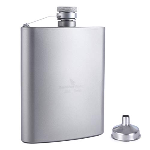 iBasingo 200ml Titan Tasche Flagon Sport flach Likör-Flasche im Freien Camping Ultraleicht tragbar strapazierfähig Wein Topf