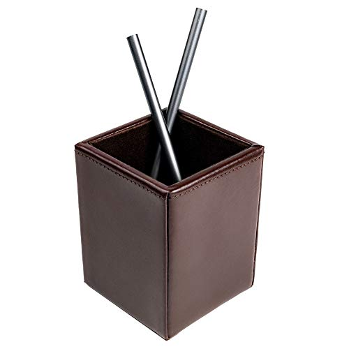 Dacasso Dark Brown Bonded Leather Pencil Cup