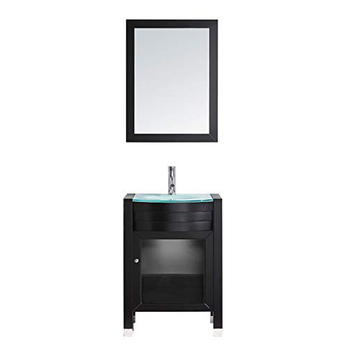 Virtu USA Ava 24 inch Single Sink Bathroom Vanity Set in Espresso -