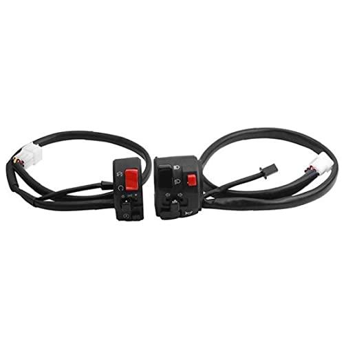 Naisicatar Conjunto De Interruptores De 22 Mm Botón De Cuerno De Motocicleta Fog Lámpara De Antaño Start Manillar Controller 1set