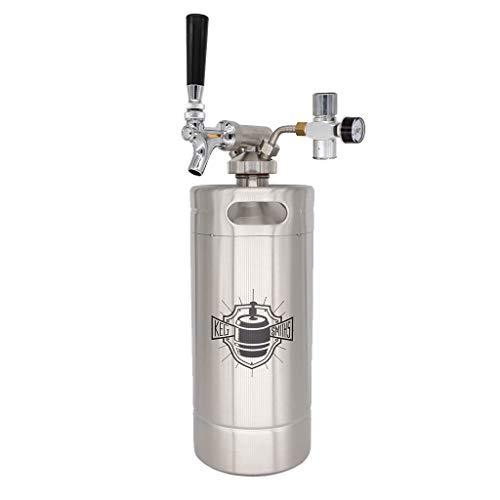 Keg Smiths Mini Keg Portable Draft System, Stainless Steel, 128 oz.