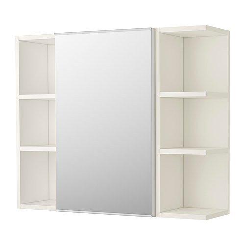IKEA LILLÅNGEN Spiegelschrank mit einer Tür und 2 Abschlussregalen; in weiß