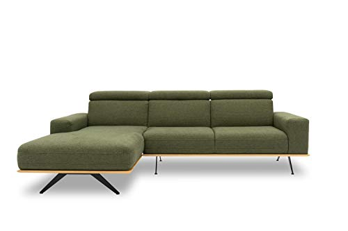 DOMO. collection Lucera Ecksofa, Funktionssofa in L-Form, Eckcouch, Polstercke mit Holzrahmen, grün, 259x169