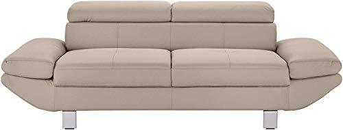 Mivano 2-Sitzer Ledersofa Carrier, Moderne Polstercouch mit verstellbaren Kopfstützen und Armlehnen, 208 x 74 x 102, Kunstleder hellgrau