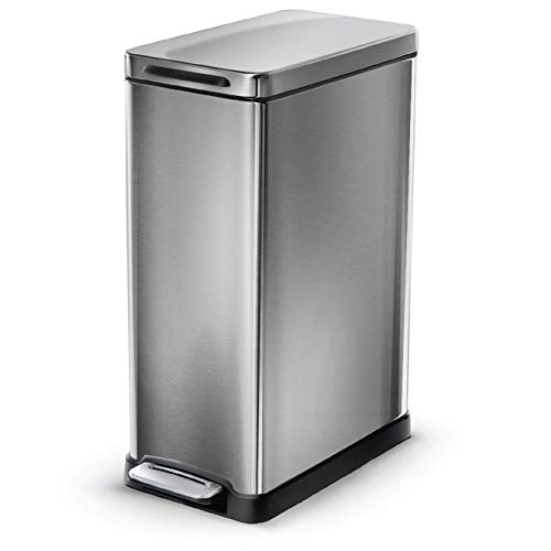 Home Zone Living 12 Gallon Kitchen Trash Can, Slim Stainless Steel, Step Pedal, 45 Liter