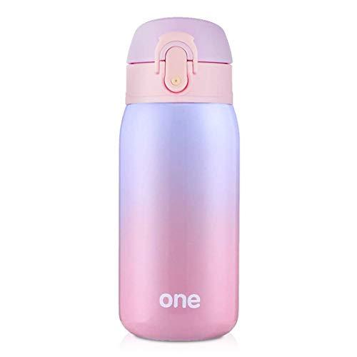 ZDZDZ Lindo termo de acero inoxidable al vacío, mini botella de agua térmica de 325 ml, taza de viaje para niños, niñas y niños