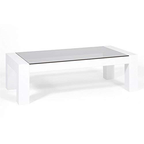 Mobili Fiver Iacopo, Tavolino da salotto, piano in vetro temperato, Colore Frassino Bianco, 100x50x30 cm