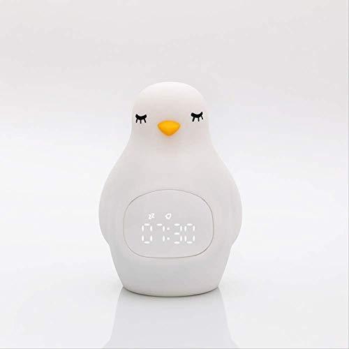 Cartoon Pinguin siliconen nachtlampje, multifunctionele USB-oplader, klein nachtlampje met wekker wit
