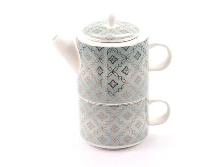 dethtlefsen Tea for one Set Adam Porzellan mit Goldauflage, 3-teilig Kanne: 0,32 l, Tasse: 0,25 l