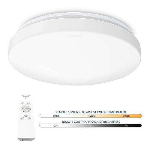 Anten plafón LED regulable con mando a distancia | Lámpara de techo redonda 24W cambio de temperatura de color 3000K-6500K | Iluminación para sala, dormitorio, comedor, cocina, pasillo, etc.