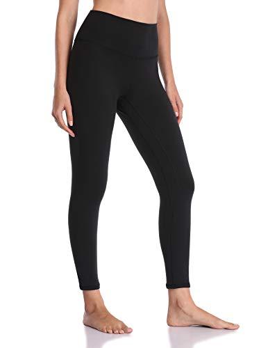 YUNOGA Women's Soft High Waisted Yoga Pants Tummy Control Ankle Length Leggings (L, Black)