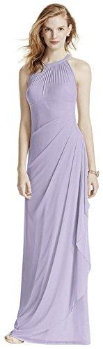 David's Bridal Long Mesh Bridesmaid Dress with Illusion Halter Neckline Style F15662, Iris, 2