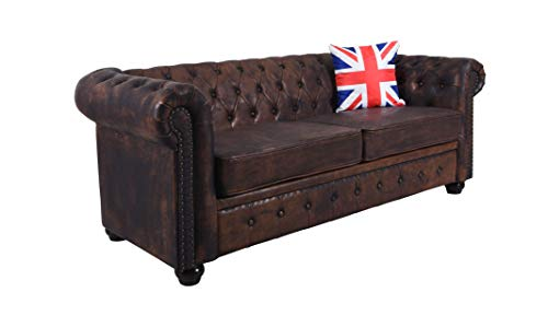 Englisches Sofa Chesterfield Dreisitzer Wohnlandschaft Couch Retro Kunstleder fha010 Palazzo Exklusiv