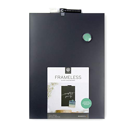 U Brands Magnetic Chalkboard, 11 x 15.5 Inches, Frameless, Marker and Magnets Included (2351U00-04)