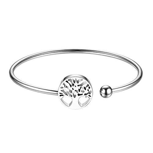 JewelryWe Cuff Bracelet with Classic Tree of Life Charm Open Cuff Bangle Bracelets for Women Girls(Silver)