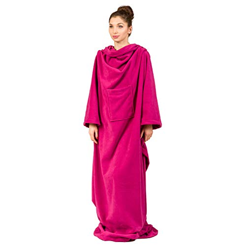 Froster Decke Morgenmantel tragbare Decke mit Ärmeln für Erwachsene weich und warm, Polarfleece, fuchsia, Einheitsgröße
