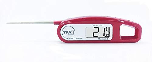 TFA Dostmann Thermo Jack digitales Einstichthermometer, Taschen Thermometer, Ideal für Fleisch, Braten oder Babynahrung, klappbar, wasserfest