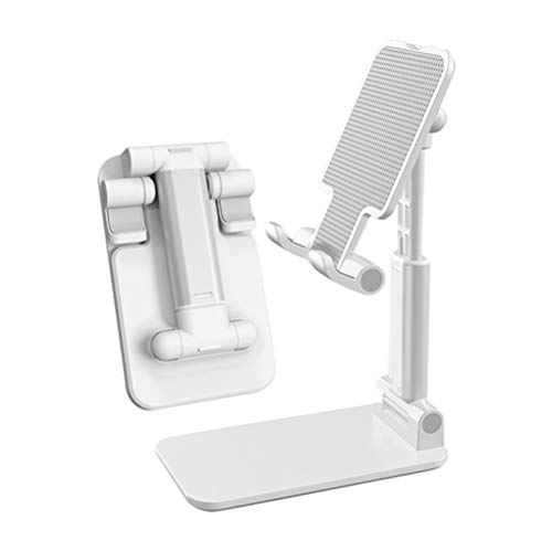 L&B Olivia Cell Phone Holder Stand for Desk, Adjustable Mobile Phone Holder with Charging Port Sturdy Hands-Free Stand, Compatible with iPhone/Samsung (Silver)