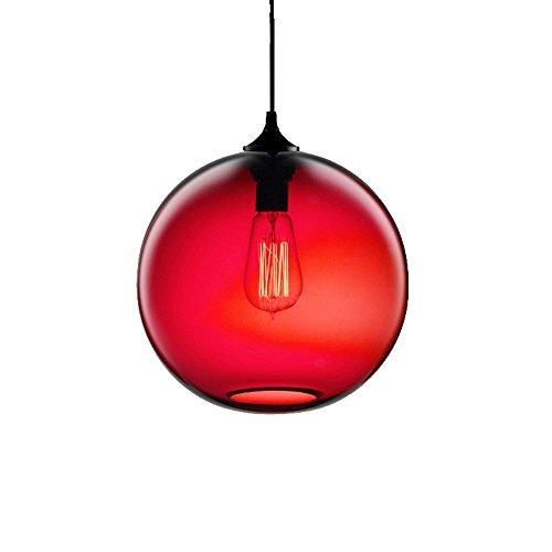 Wings of wind - Lámpara de techo industrial esférica de la vendimia de la lámpara E27 Colgante colorido jaula de cristal (Rojo)