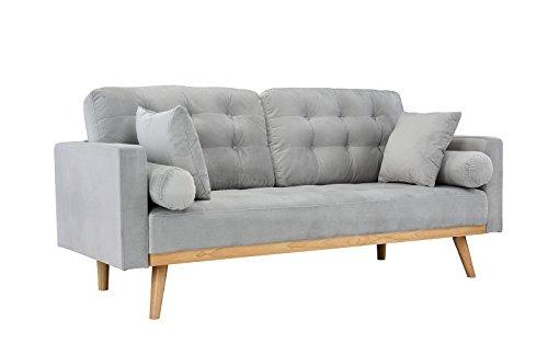 Casa Andrea Milano llc Mid Century Modern Tufted Upholstered Fabric Sofa Couch, Ash Velvet