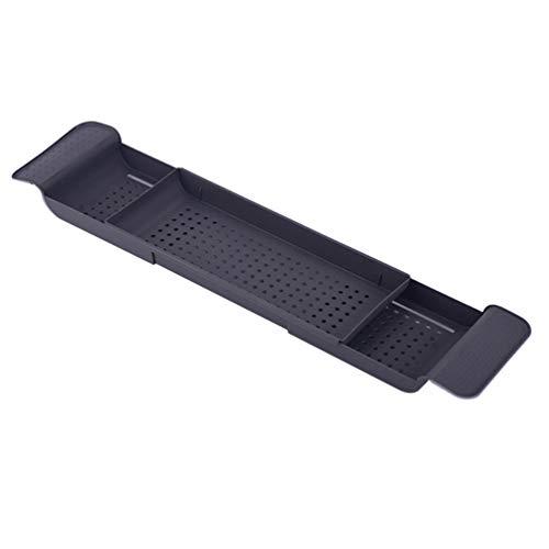 Wakauto Badewanne Tablett Caddy Bad Tisch Tablett Kunststoff Erweiterbare Abfluss Bad Zubehör für Glas Shampoo Seife Dunkelgrau