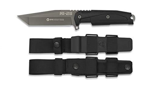 ALBAINOX 32391. Cuchillo K25 Modelo MI-28. Negro. Mango de Goma. Hoja: 11.5 cm. Funda rígida