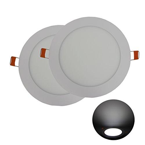 Hothome® RPA12RCW, Pack de 2 unidades Foco Empotrable Led 12W, 170mm 1080LM, Blanco Frio 6500K, Ceiling Light [Clase de eficiencia energética A+]