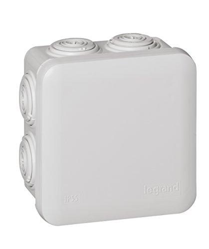 Legrand 092012 Boîte de Dérivation Carrée Plexo, Dimensions 80mm x 80mm x 45mm, Gris