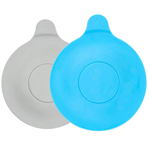 Universal Stöpsel in grau und blau, 2 Pack, Ø 13 cm Durchmesser, für alle Abflüsse bis 90 mm, Ablaufstopfen für Badewanne, Dusche, Waschbecken, Spüle, schmutzresistenter Ablauf-Stöpsel, Abflussstöpsel