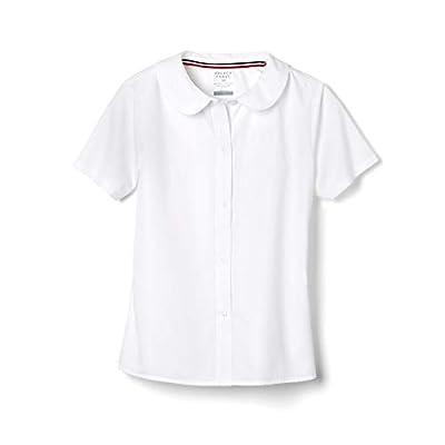 French Toast Girls' Little Short Sleeve Peter Pan Collar Blouse (Standard & Plus), White, 5