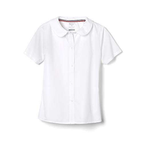 French Toast Big Girls' Short Sleeve Peter Pan Collar Blouse, White, 12
